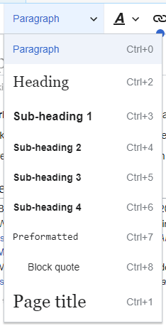 Wikipediavisualeditoruser guide wikipedia visualeditor toolbar headings eng ccuart Choice Image
