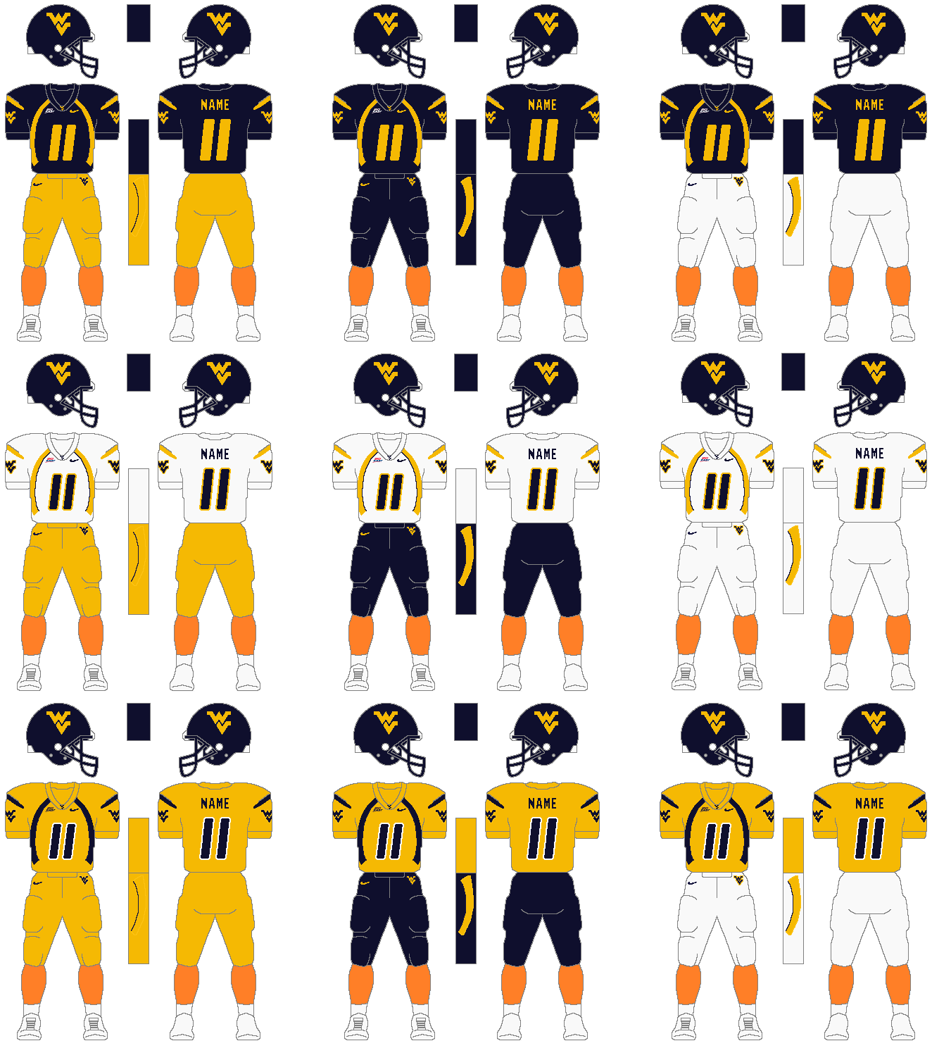 brand new d0778 0efe0 File:West Virginia University Football Uniform Combinations ...