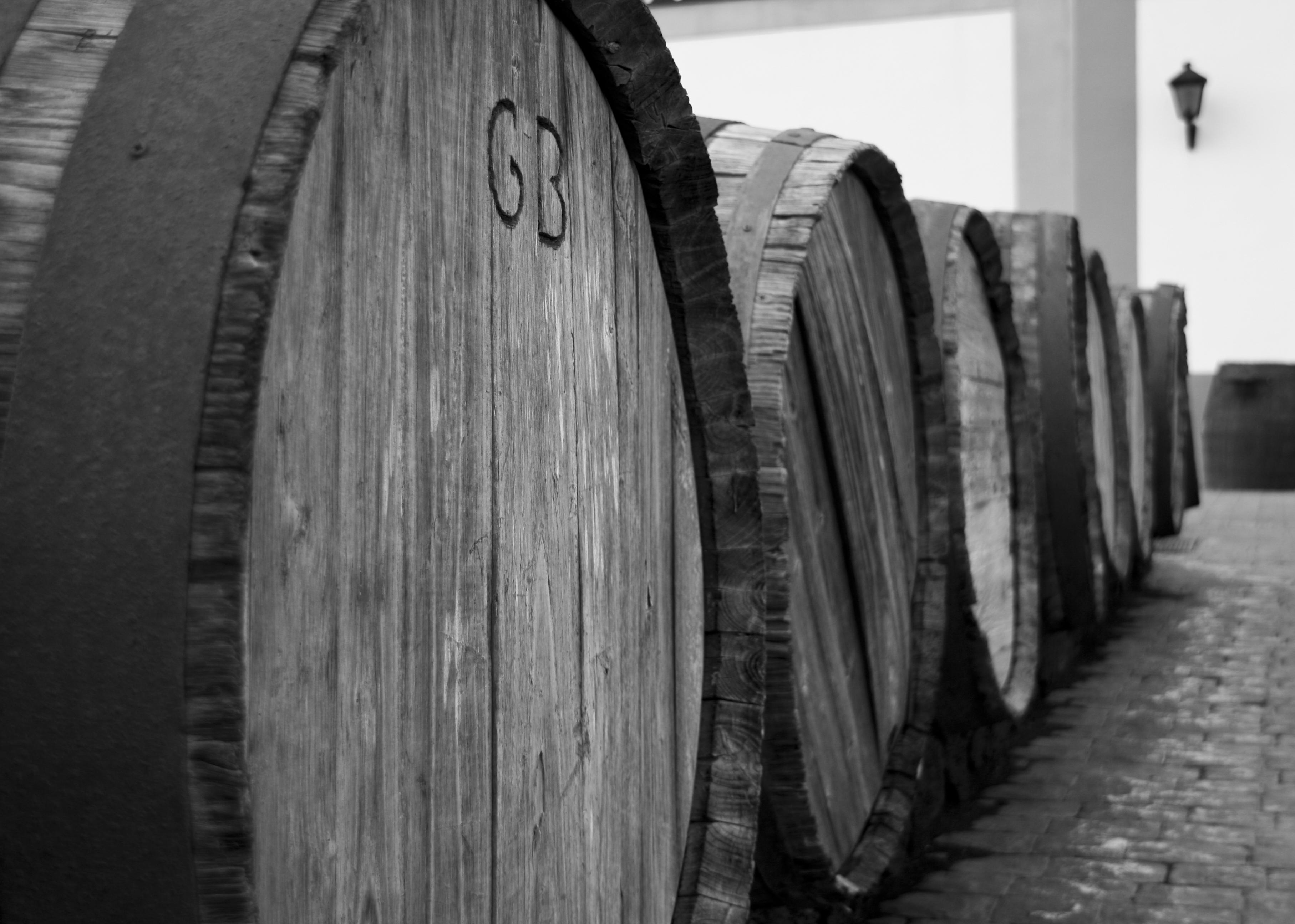 File Wine Barrels Outside Vineyard On Lanzarote