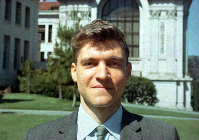 Theodore Kaczynski as a young faculty member at Berkeley, with Doe Library in background and Bancroft Library at left.