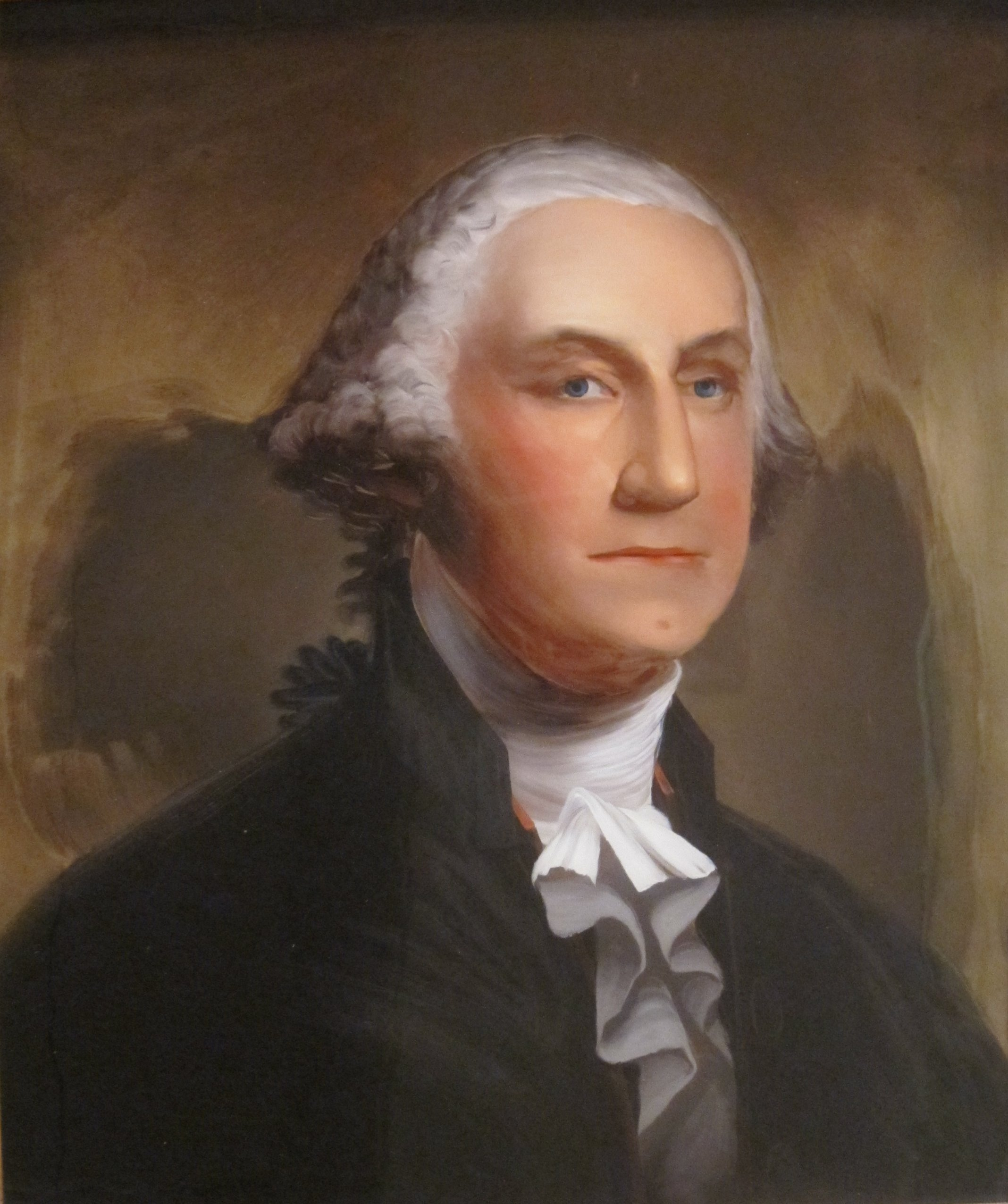 File George Washington Reverse Painting On Glass By