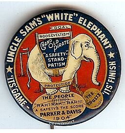 "A Parker 1904 button attacking Republicans as tied to big business (""trusts"")."