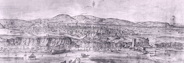 Drawing of Guadalajara in the 1560s, by Anton van den Wyngaerde. The view, from the North, visibly features the Bridge over the Henares, then a turreted bridge.