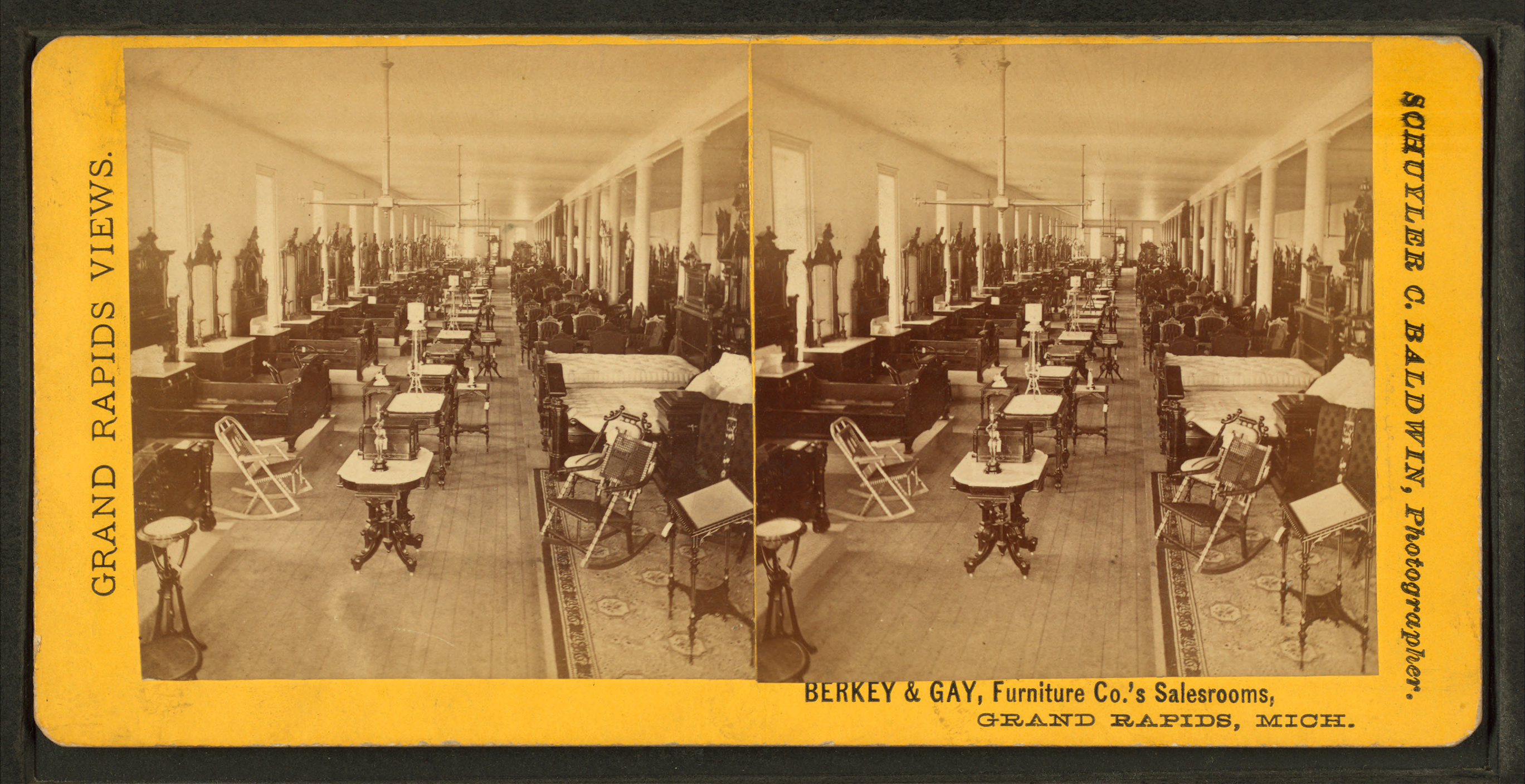 Berkey %26 Gay Furniture Co.s sales rooms, Grand Rapids, Michigan, by Baldwin, Schuyler C. (Schuyler Colfax), 1823 1900 The gay men (pictured) show themselves gardening, in the kitchen, ...