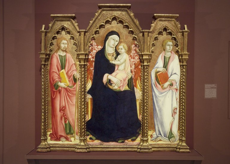 File:Brooklyn Museum - Madonna and Child with Saints James Major and John the Evangelist altarpiece - Sano di Pietro.jpg