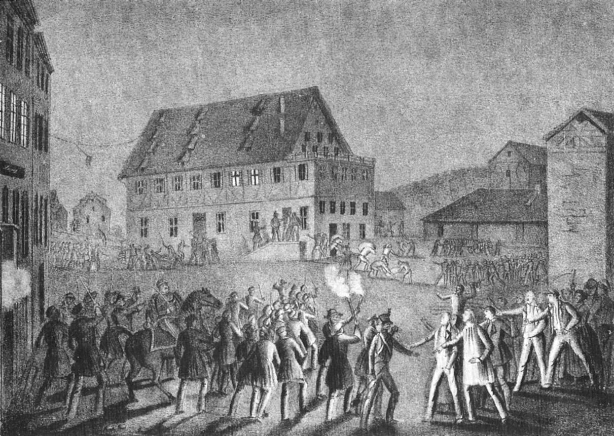 File:C Baumann - Sturm auf Schweickhardt'sche Kunstmühle Lithographie 1847  (Inv2228)