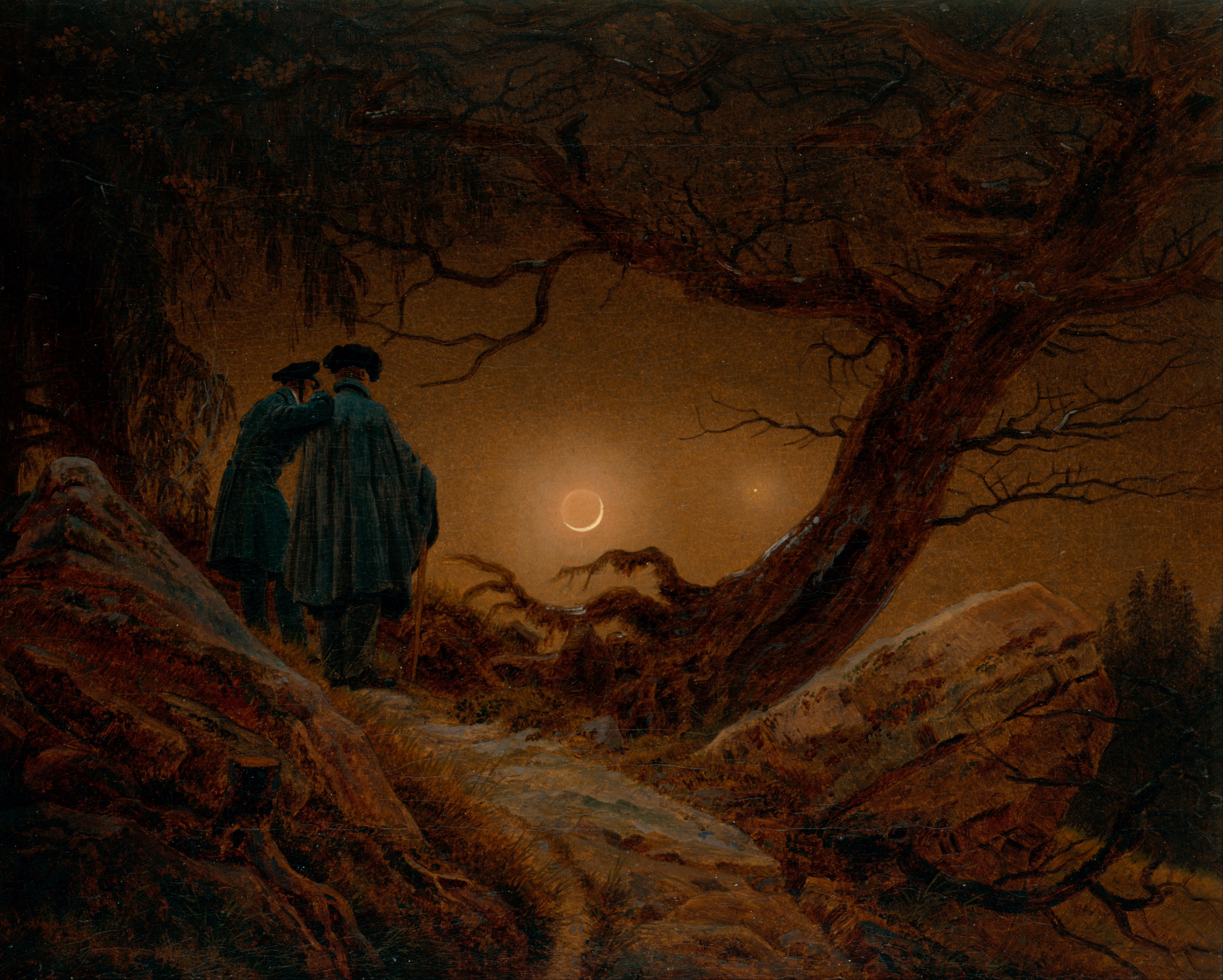 http://upload.wikimedia.org/wikipedia/commons/f/ff/Caspar_David_Friedrich_-_Two_Men_Contemplating_the_Moon_-_Google_Art_Project.jpg