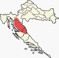 Approximate region of Lika within Croatia