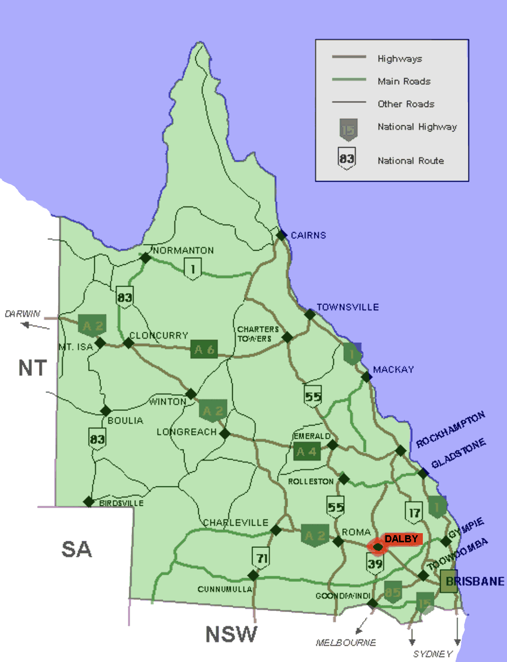 Dalby Australia  city photos gallery : Dalby location map in Queensland — Wikimedia Commons