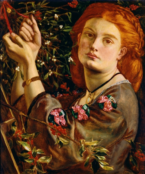 Dante Gabriel Rossetti - Hanging the Mistletoe from The Bridgeman Art Library, Object 87464. Uploaded to Wikimedia Commons under CC-PD-Mark