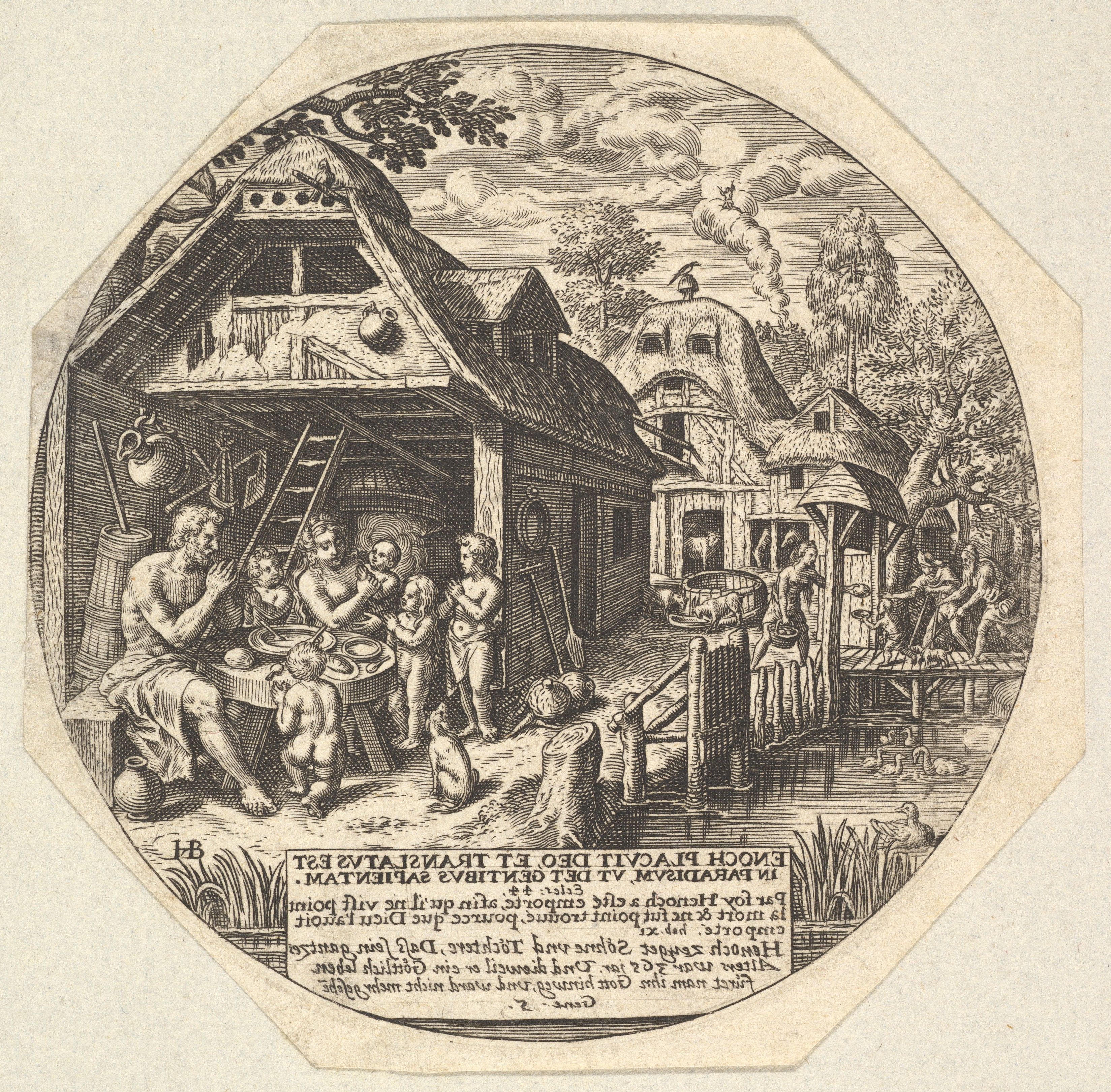 Fileenoch And His Family Surrounding A Meal Table And Holding Their
