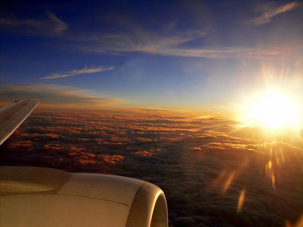 flight above clouds
