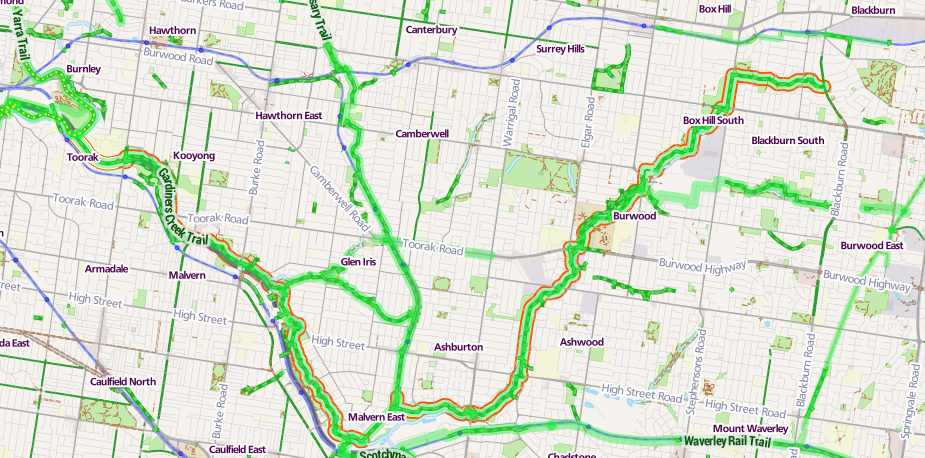 Gardiners Creek Trail map Stevage.png
