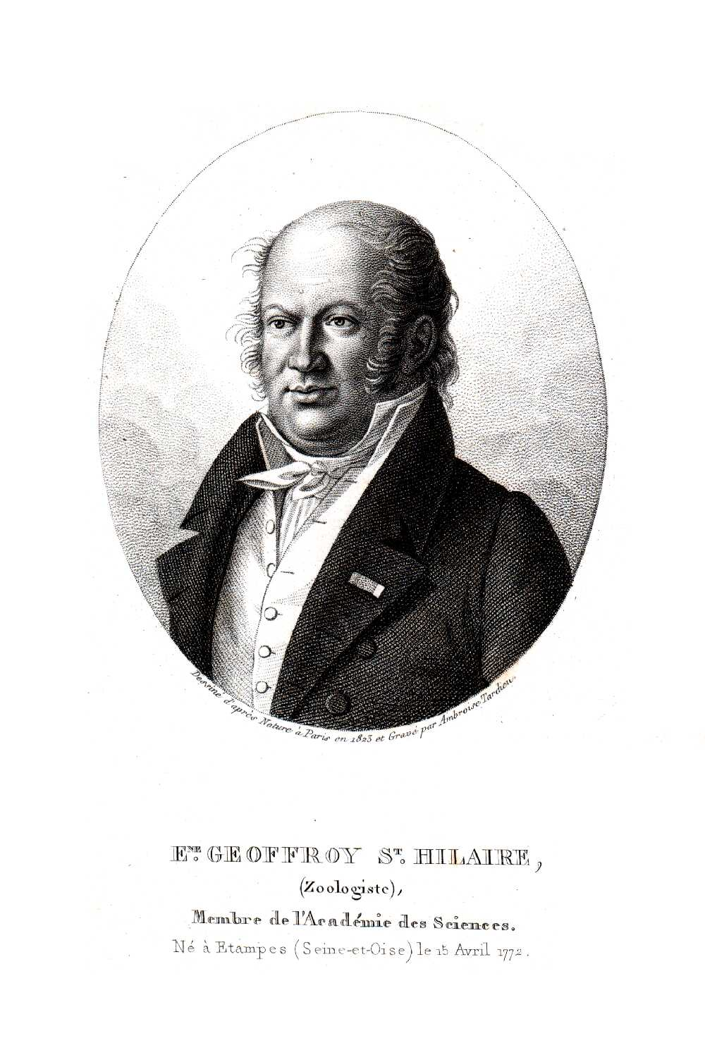 An engraving of Étienne Geoffroy Saint-Hilaire.