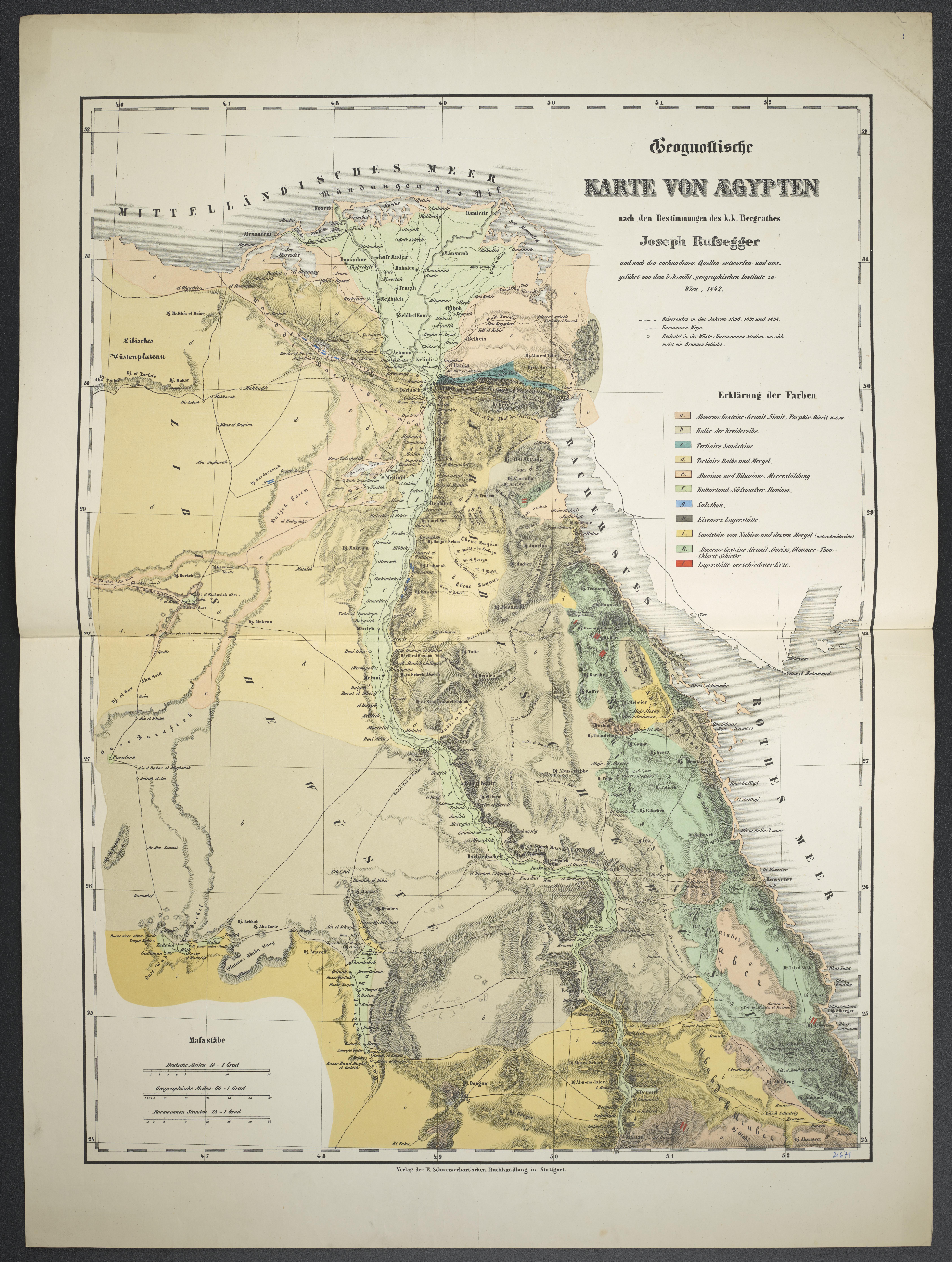 Karte Von ägypten.File Geognostische Karte Von Aegypten Jpg Wikimedia Commons