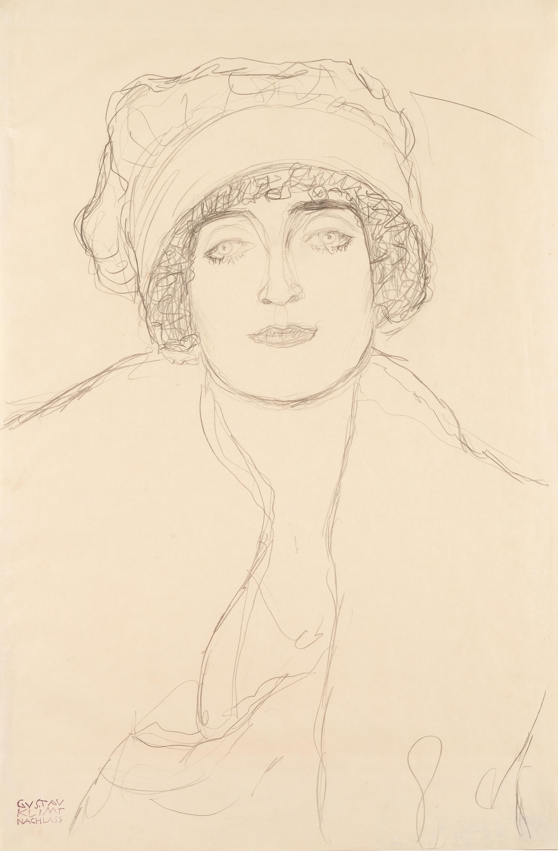 File Gustav Klimt Podobizna V Klobouku 1917 1918 Kresba Tuzkou