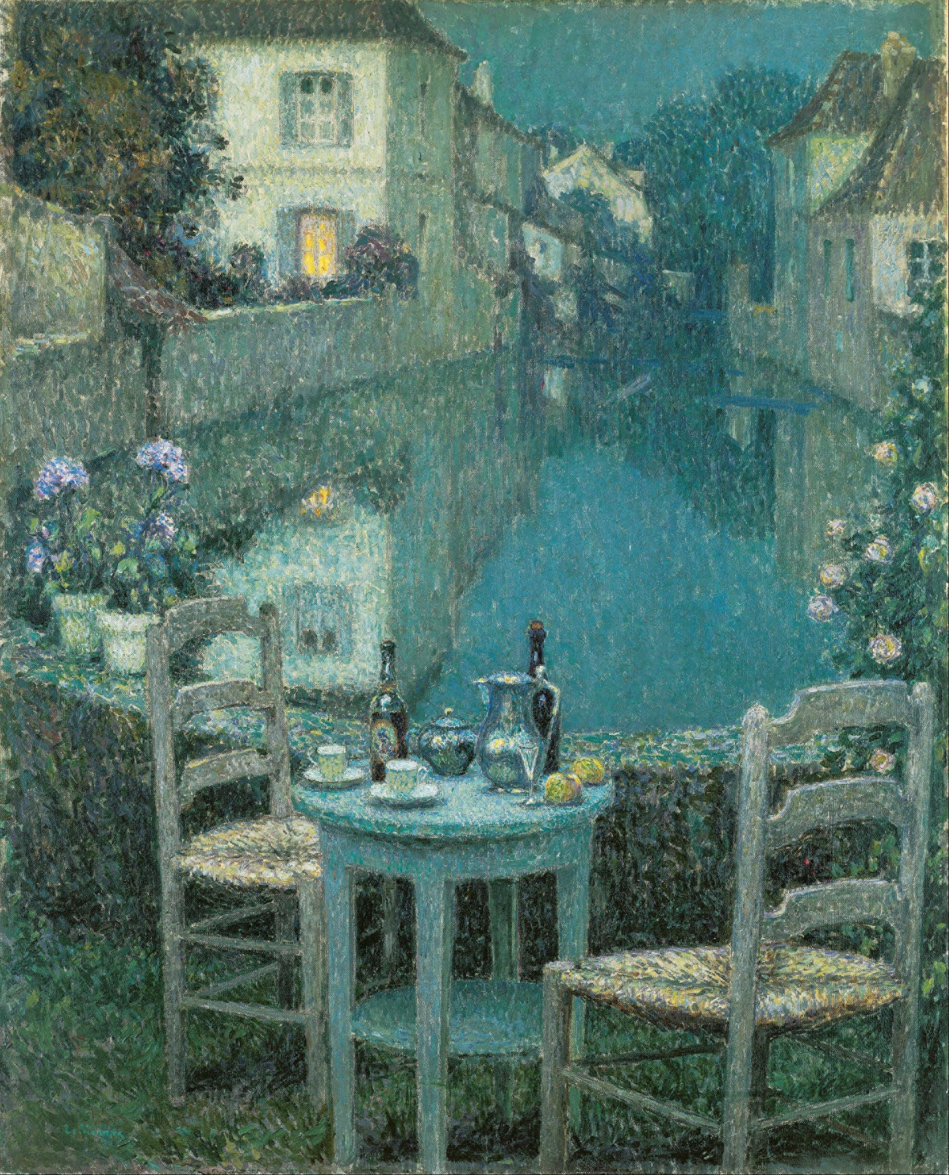 File henri le sidaner small table in evening dusk for Balthus alice dans le miroir