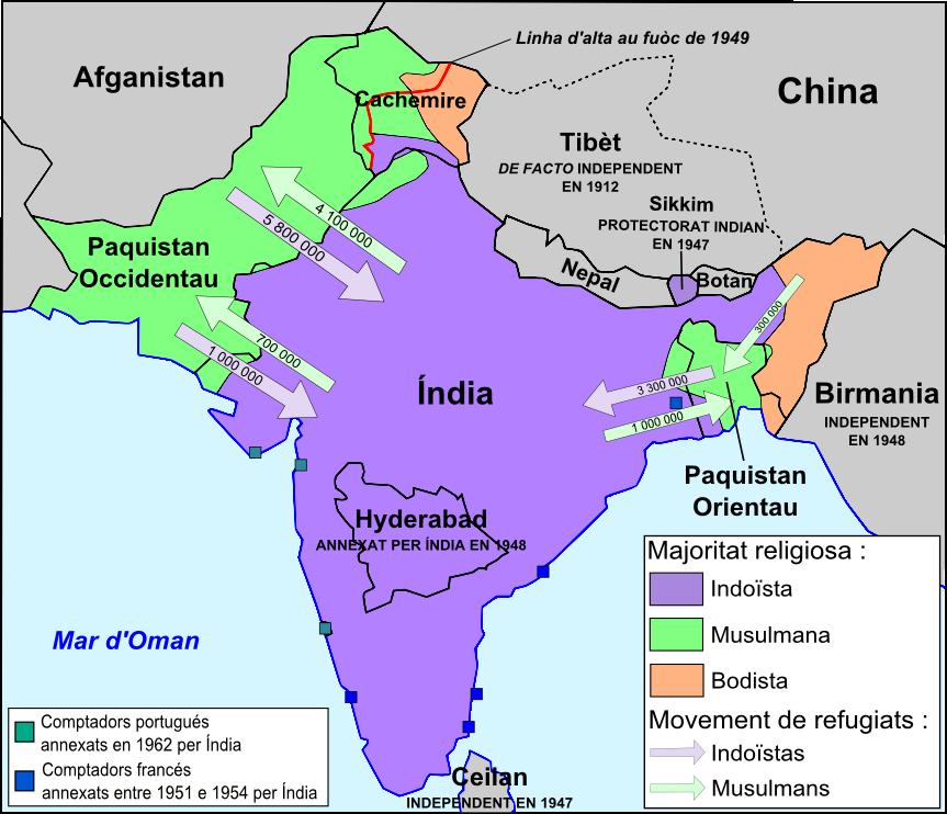 File:India - Partiment de la peninsula indiana en 1947.png ...