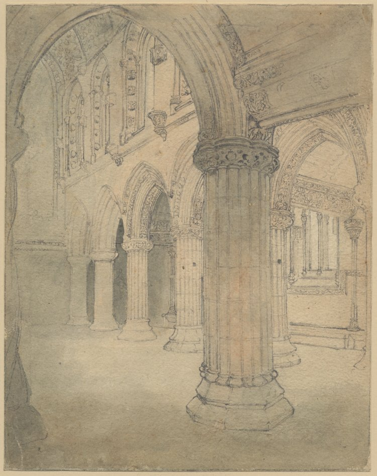 Dessin de la Rosslyn Chapel de Thomas Stothard (vers 1800).