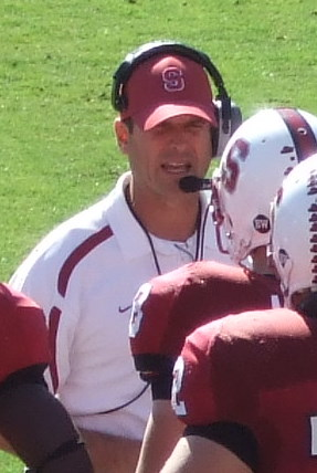 English: Jim Harbaugh coaches Stanford against...
