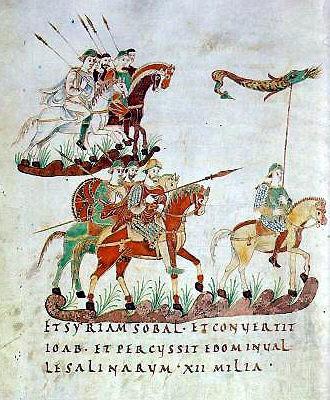 Karolingische ruiterij uit het Psalterium Aureum (St. Gallen, Stiftsbibliothek, Cod. 22, saec. IXex, p. 140 als illustratie bij Ps 60 (veldtocht van Joab).