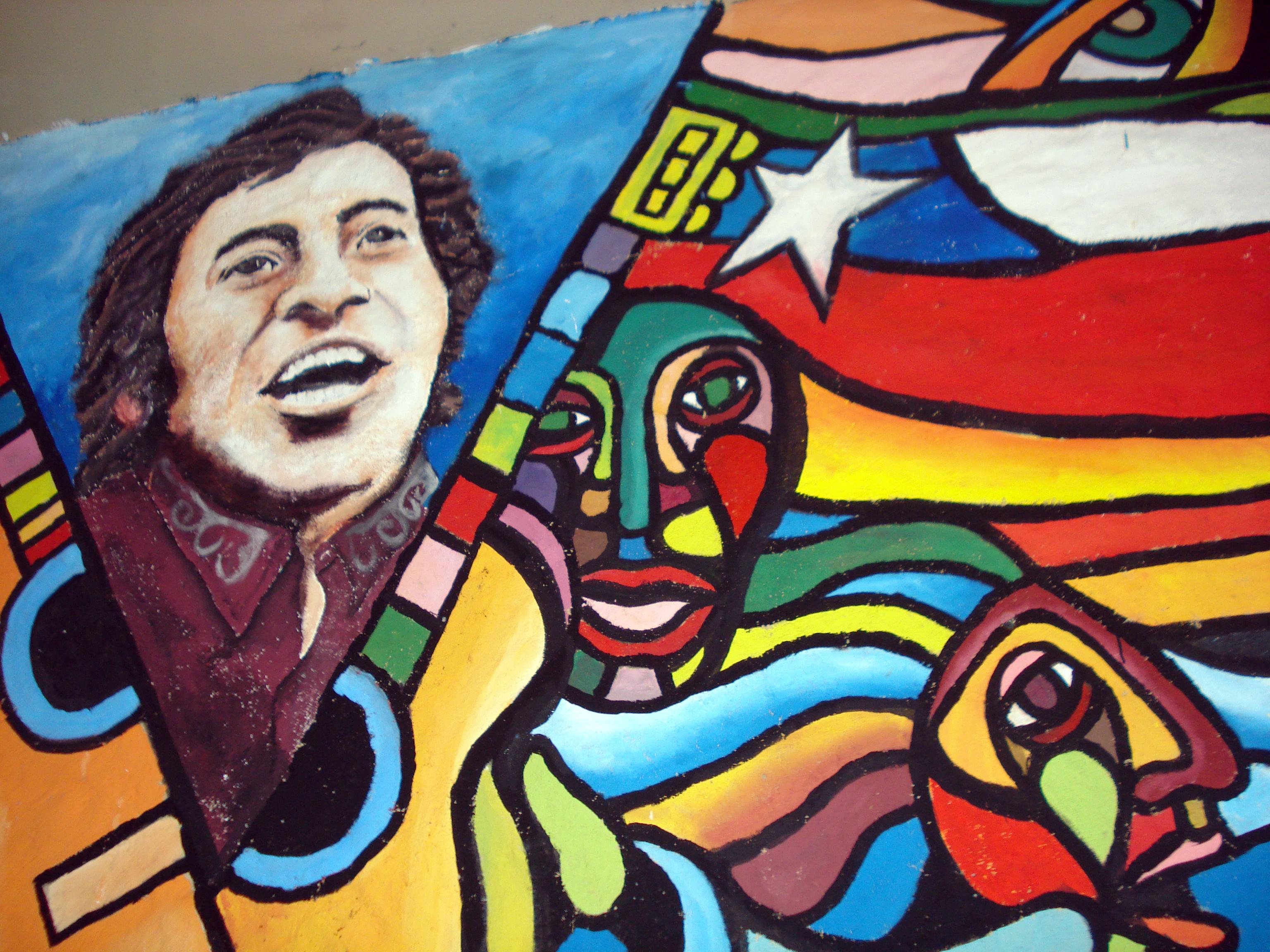 Mural a Víctor Jara realizado en el galpón que lleva su nombre.