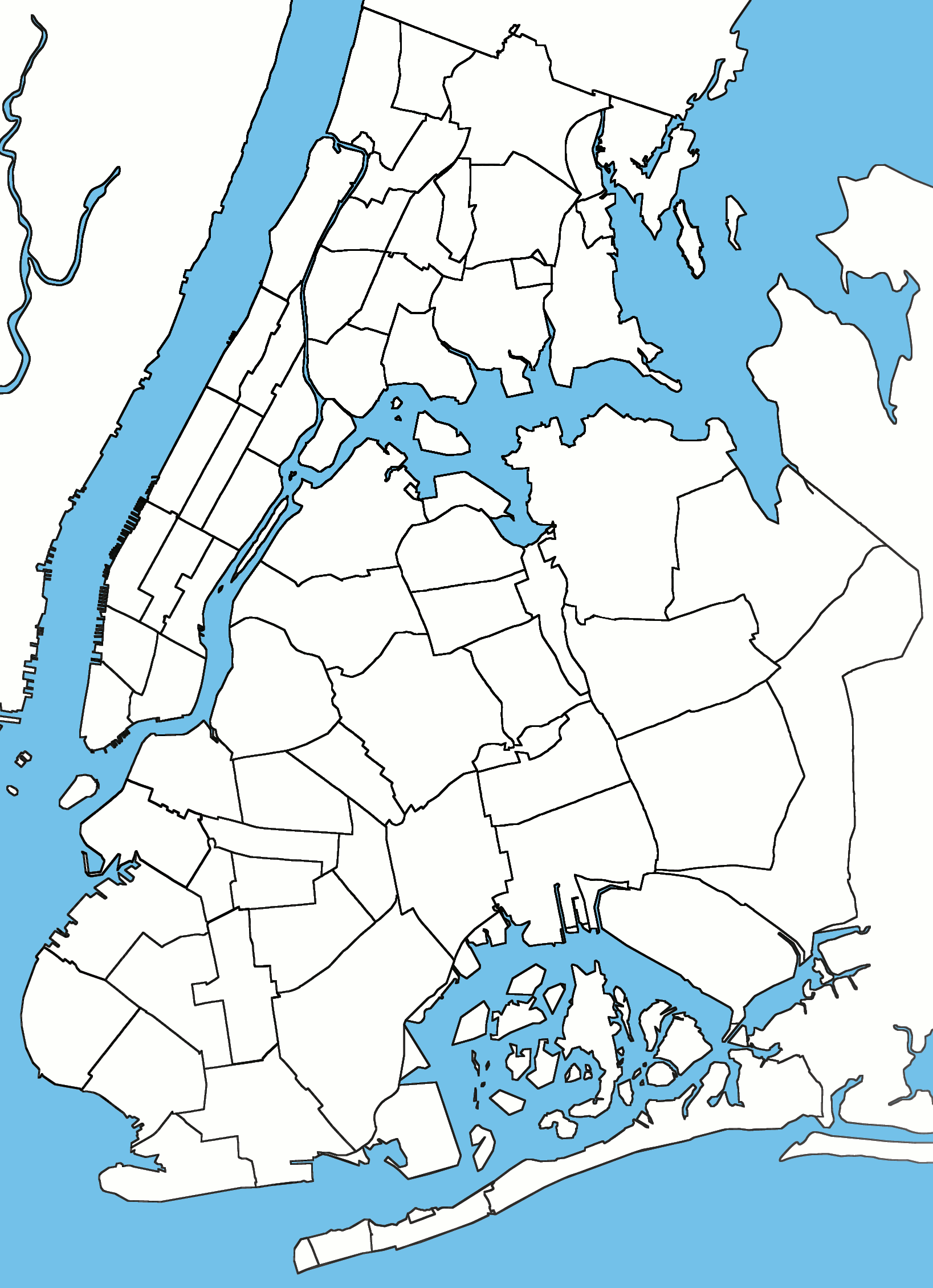 Blank Usable Map Of NYC Boroughs - New york map city