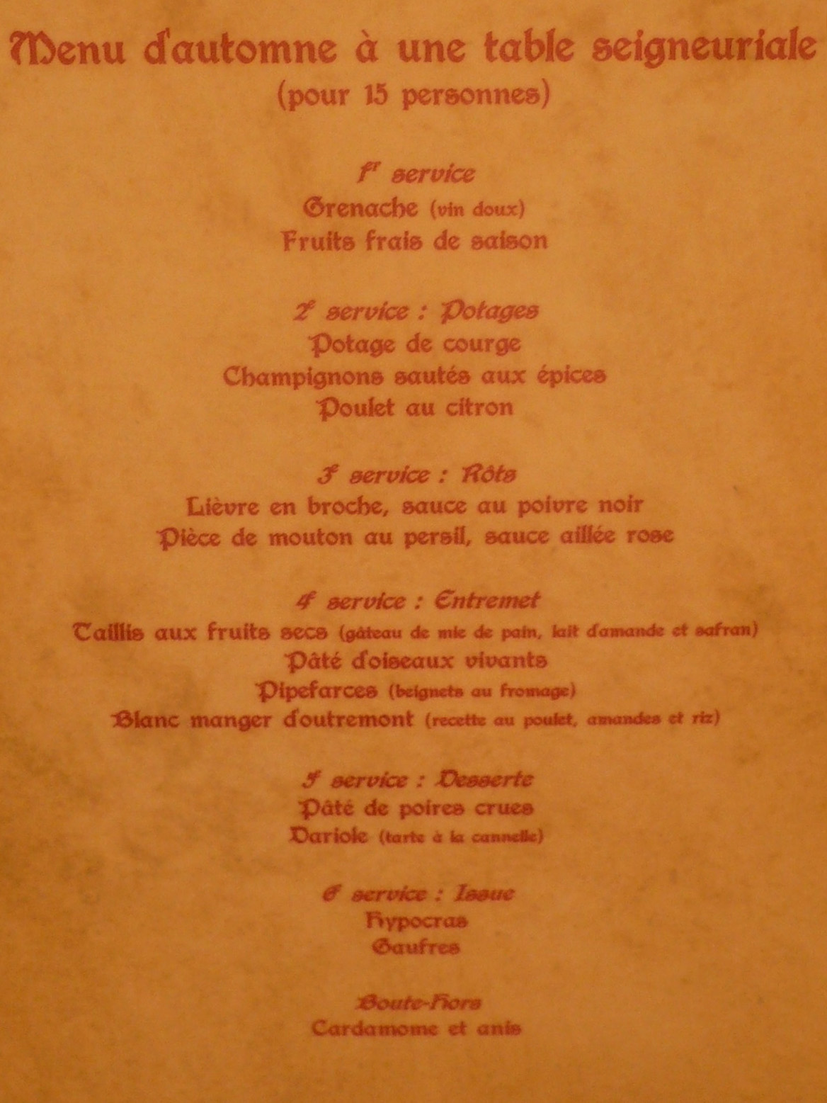 Menu Restaurant Des Pirates