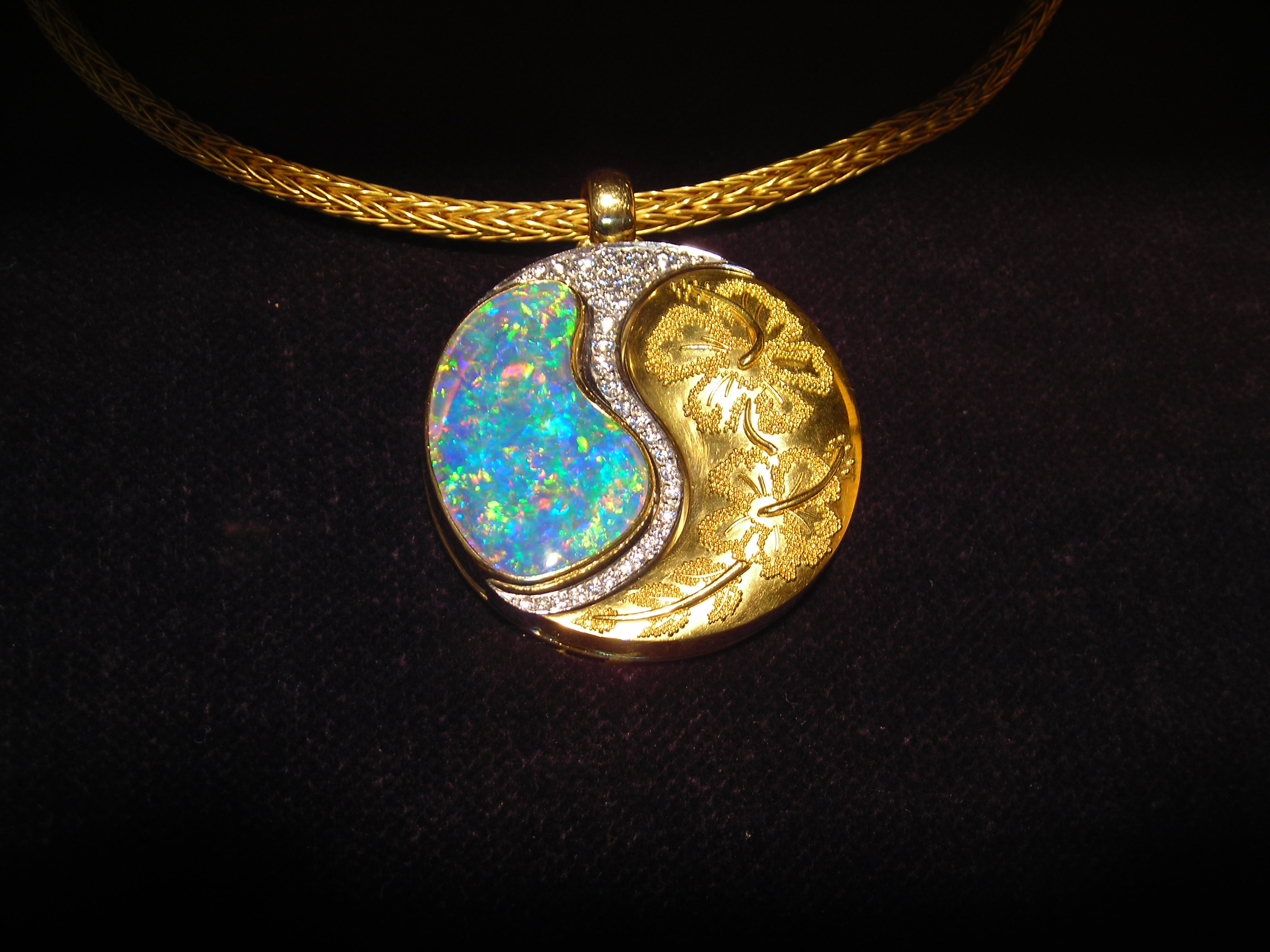 gold ethiopian necklace wong real denny yellow pendant opal in