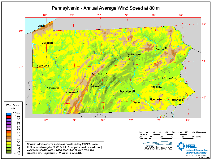 file pennsylvania wind resource map 80m wind map png wikimedia commons