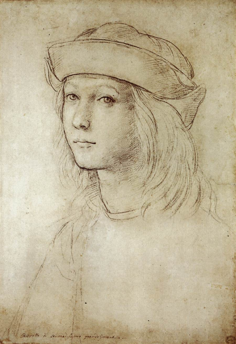 Probable self-portrait drawing by Raphael in his early teens.
