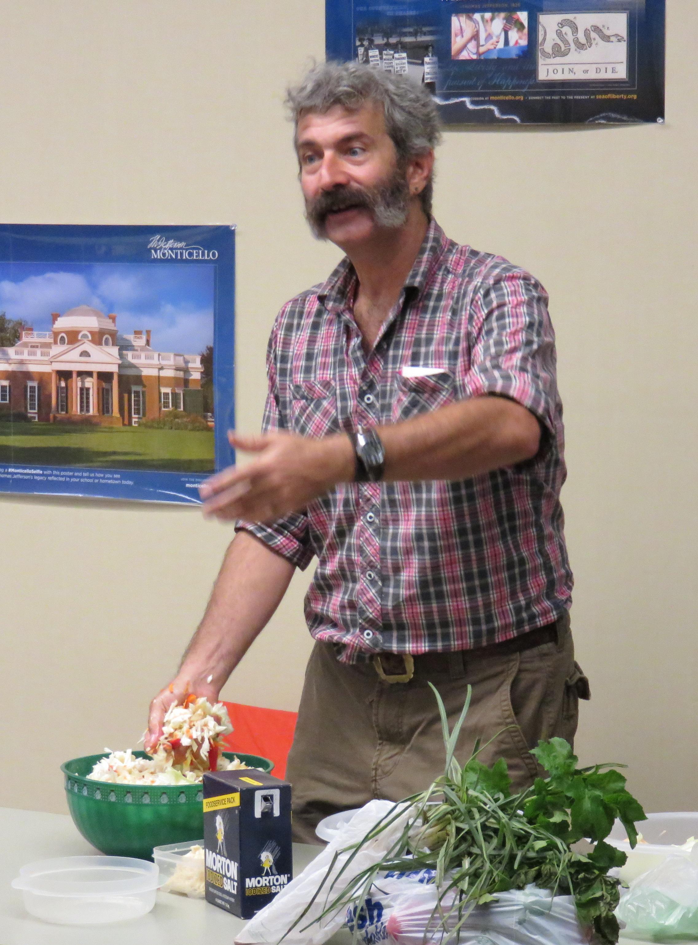 Sandor Katz doing a fermentation workshop at the Monticello Heritage Harvest Festival, 12 September 2015