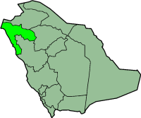 Map of Saudi Arabia with Tabuk highlighted