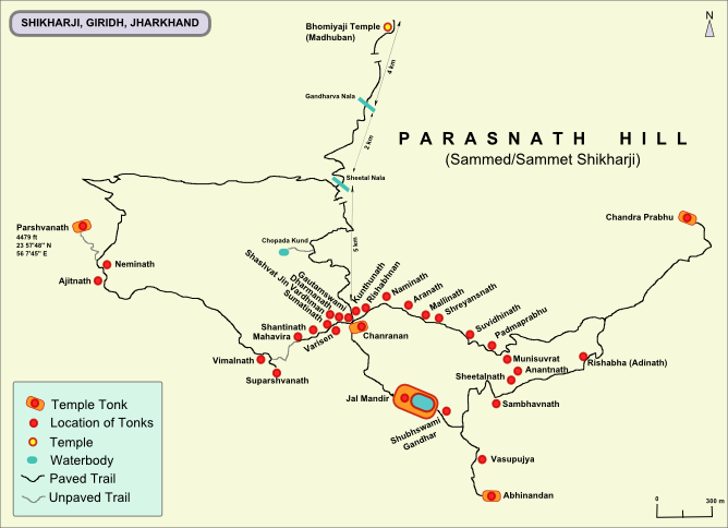 Shikharji trail map