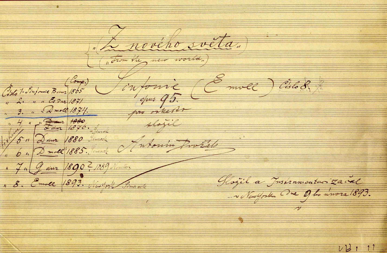 Titelseite der handschriftlichen Partitur von Dvořáks 9. Sinfonie