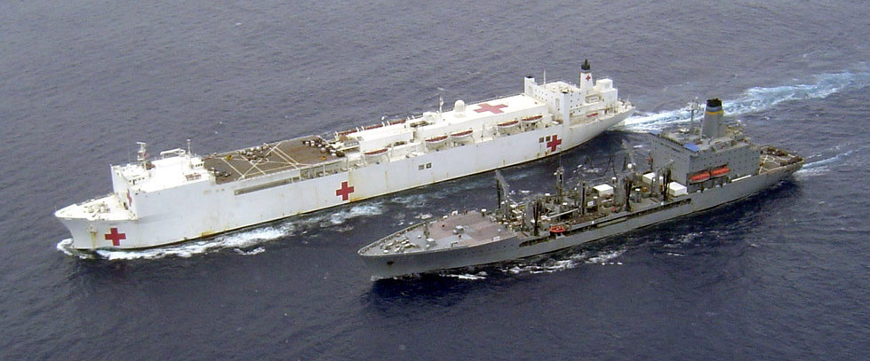 USNS Mercy (T-AH-19) underway replenishment with USNS Tippecanoe (T-AO-199) during Operation Unified Assistance 2005.jpg