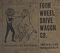 """""""FOUR WHEEL DRIVE WAGON CO."""" """"MILWAUKEE, WISCONSIN"""" """"KNOCKING OUT THE HORSE"""" art detail, from- Racine (Wisconsin) City Directory 1906 (page 1 crop).jpg"""