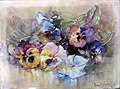 'Pansies' by Franz Arthur Bischoff, 1908, oil on porcelain plaque.jpg