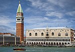 (Venice) Doge's Palace and campanile of St. Mark's Basilica facing the sea.jpg