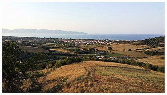 Akanthos (Greece) - View of Ierissos showing the Akanthos site in the foreground and to the extreme right.