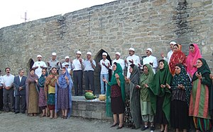 Zoroastrianism in Azerbaijan - Iranian Zoroastrians praying in Ateshgah of Baku.