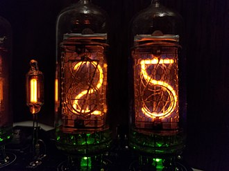 """Nixie tube - ИH-14 (IN-14) Nixie tubes displaying """"25"""". Notice how the 5 is an upside-down 2."""