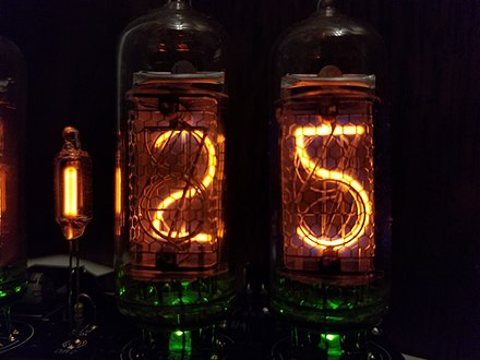 "IH-14 (IN-14) Nixie tubes displaying ""25"". Notice how the 5 is an upside-down 2. IH-14 (IN-14) Nixie Tubes Displaying ""25"".jpg"