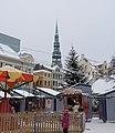 Рига (Латвия) Площадь Домоского собора - палатки предновогоднего рыночка - panoramio.jpg