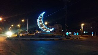 Crescent - Crescent depicted in the shape of a lighted sign