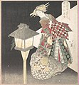 "「文齊側五行火 花街細見合」-Courtesan by a Lantern, ""Fire,"" from the series Five Elements for the Bunsai Poetry Group, a Guide to the Yoshiwara Pleasure Quarters MET DP135892.jpg"