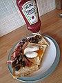 -2019-11-12 Streaky bacon, poached egg, mushrooms on toast, Cromer.JPG