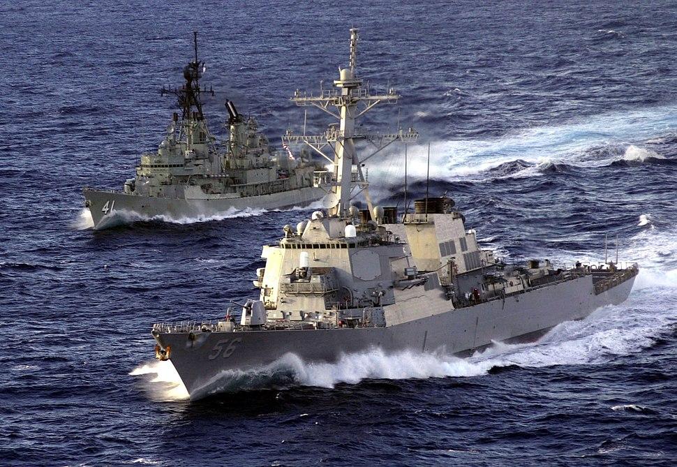 010519-N-4790M-005 - USS John McCain (DDG-56) and Australian ship at sea