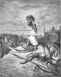 David hoists the severed head of Goliath as illustrated by Gustave Dore (1866). 071A.David Slays Goliath.jpg