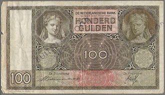 Museum Enschedé - Old banknote from 1935 has the text Joh. Enschedé en Zonen in the lower left corner